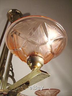 Lustre Art Deco En Bronze Vasque Et Coupelles Signe Hanots