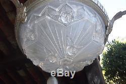 LUSTRE chandelier SIGNE EJG 1089 FRANCE ART DECO Nouveau Bronze Argenté nickelé