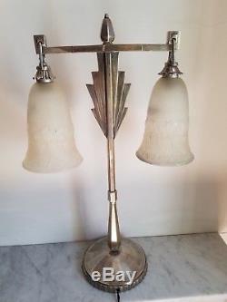 Lampe ART Déco potence en bronze argentée verres Muller Frères Lunéville 1925