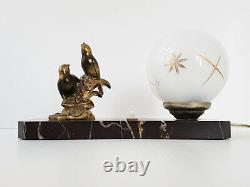 Lampe Art Deco Aux Moineaux Marbre Bronze & Verre 1920 1930 Vintage 20s 30s