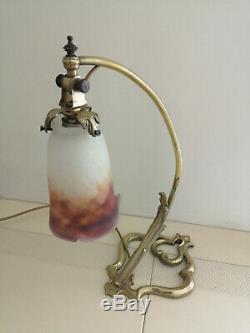 Lampe Art Deco Coeur En Bronze. Tulipe En Pate De Verre Signee Muller Freres