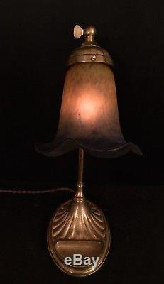 Lampe Art Déco En Bronze Et Tulipe Pte De Verre Signée Muller Frères Luneville