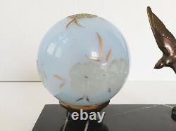Lampe Art Deco Hirondelle Marbre Bronze & Verre 1920 1930 Vintage 20s 30s