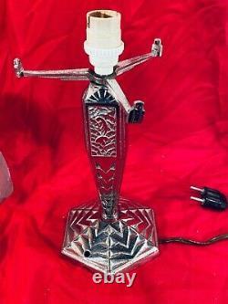 Lampe Art Deco Muller Freres Luneville Bronze Argente