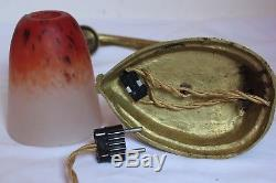 Lampe Art Deco Pate De Verre Schneider Bronze Lustre