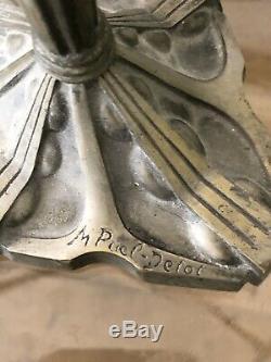 Lampe Art Deco Puel Detot Art Nouveau Muller Schneider Bronze Nickelé