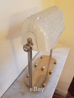 Lampe Art Deco bureau verre blanc signé SABINO Paris numéroté bronze argenté