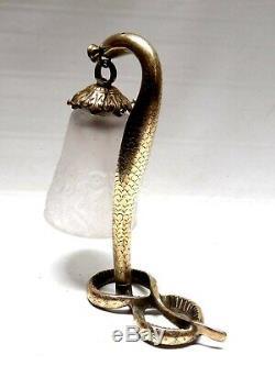 Lampe Art Deco en bronze doré tulipe signée Muller Freres Luneville