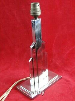 Lampe Art-déco à gradins Bronze chromé Design XX° Moderniste