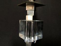 Lampe Attribue Jacques Adnet En Deux Cubes Verres Superposés Art Deco 1940 L9