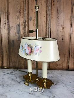 Lampe Bouillotte Ancienne À 2 Lumières En Bronze Avec Abat Jour En Tôle