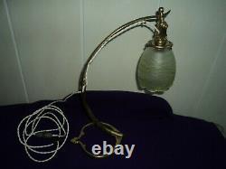 Lampe Bronze Arts & Crafts Benson Tulipe Vaseline Pate De Verre Art Deco 1900