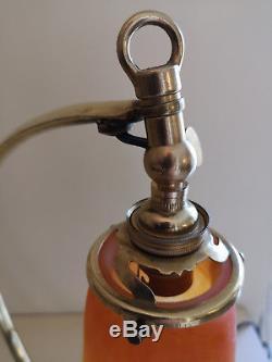 Lampe Coeur En Bronze Art Deco. Tulipe En Pate De Verre Signee Schneider