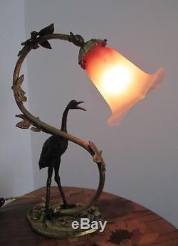 Lampe DAUM NANCY Art DÉCO / Nouveau bronze oiseau et tulipe pâte de verre 1900