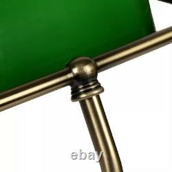 Lampe De Bureau Banquier Ancien Bronze Notaire Art Deco Opaline Verte Vintage XX