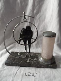 Lampe De Chevet Veilleuse Art-deco Aux Hirondelles Bronze Gout Irenee Rochard