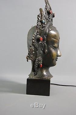 lampe t te en bronze avec cabochon pierres sur socle marbre noir asie art deco. Black Bedroom Furniture Sets. Home Design Ideas
