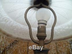 Lampe à poser Art Déco 1920/30, bronze globe Opaline blanche perles