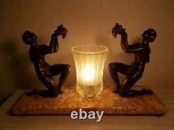 Lampe art deco 1930 sculpture femme nue statue lamp figural bronze color 30s