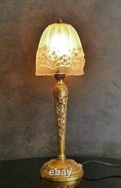 Lampe art déco bronze Tulipe verre pressé moulé Era Degué Muller