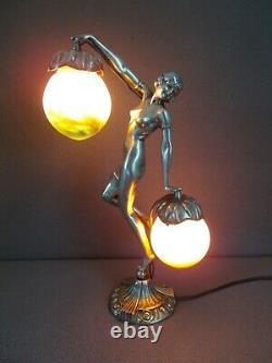 Lampe art deco en bronze argenté le verre français (vase etc.) sculpture femme