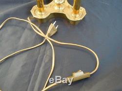 Lampe bouillotte bronze abat-jour tôle peinte époque XXème style henri Delisle