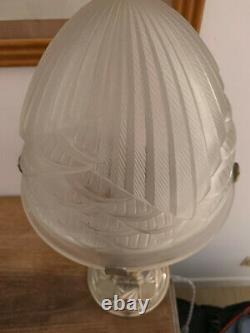 Lampe bronze argenté ART DECO verre OBUS 1930 signé SCHNEIDER France et numéroté