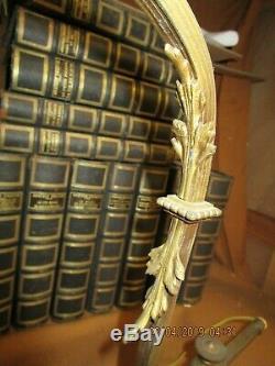 Lampe de bureau ancienne en bronze et laiton décor fleurs, noeud. / complète