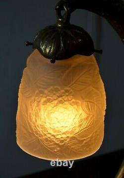 Lampe de table art déco nouveau Bronze Aigle tulipe pâte de verre XX