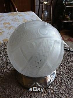 Lampe globe Art Deco Muller Freres bronze