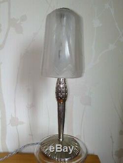 Lampe muller frères verre pressé et bronze argenté art deco 1930