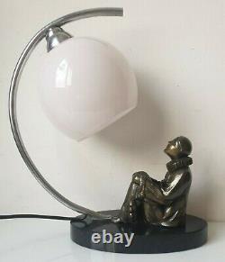 Lampe table regule pierrot Lune verre bronze marbre luminaire light vintage