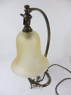 Lampe travail atelier Art Déco verre pressé bronze Bureau 1925 Vianne H 35 cm