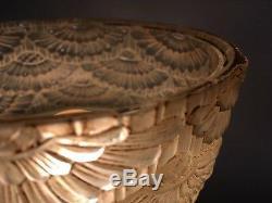 Lampe vase art déco 1930 bronze verre pressé decor floral signé Georges Leleu