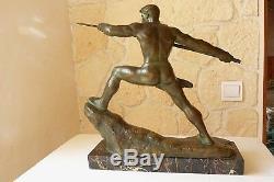 Lanceur de javelot en bronze G. Gori, Marcel GUILLEMARD n°1 vers 1930 ref 782