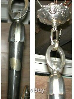 Lustre 3 feux Art Déco bronze nickelé pâte verre dégagé acide & émaillé Nancea