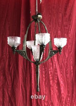 Lustre Art Deco Armature Bronze Argenté Époque 1930