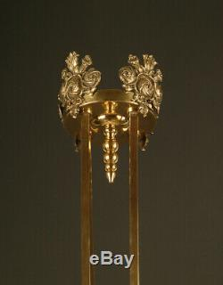 Lustre Art Déco Des Années 1920 En Bronze, Laiton Et Verre / Chandelier Art Deco