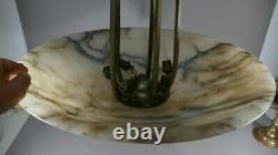 Lustre Art Déco En Albâtre Et Bronze Argenté Ou Nickelé, Vers 1930