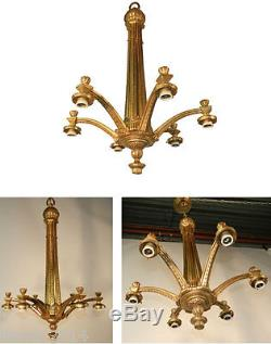 Lustre Art Deco En Bronze Vers 1930