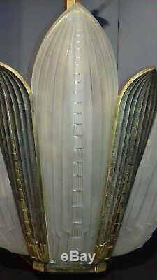 Lustre Art Deco Genet & Michon 6 Plaques Palmes Et Monture Bronze