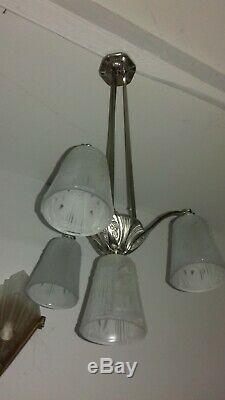 Lustre Art Deco Lampe 1930 Tulipe Vasque Muller Degue Maynadier Cherrier Daum