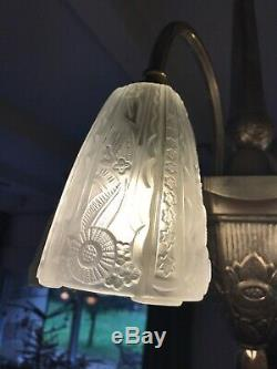 Lustre Art Deco Lampe 1930 Tulipe Vasque Obus Donna Degue Maynadier Muller