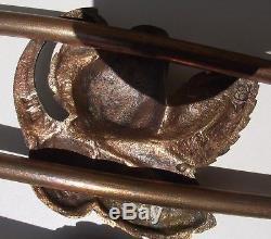 Lustre Art Déco SCHNEIDER Laiton et Bronze signé