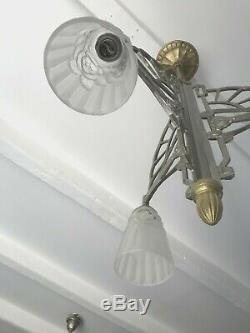 Lustre Art Deco Signe Degue Lampe French Tulipe Applique Plaque Muller Daum