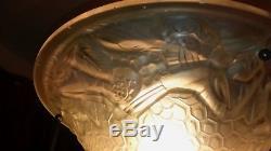 Lustre Bronze Art Deco Vasque No Degue Muller French Chandelier Lamp Tulipe