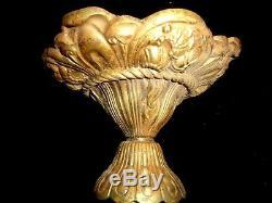 Lustre Bronze Art Nouveau Art Deco Coupe 3 Tulipes Pte De Verre
