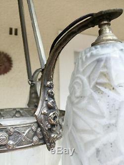 Lustre Bronze Et Métal Argenté Tulipes Et Vasque Pte De Verre Epoque Art Deco