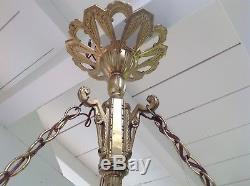 Lustre Bronze Et Pate De Verre Muller Freres Luneville