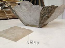Lustre Degué 4 plaques + 1 fond monture bronze art deco chandelier